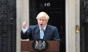 Boris Johnson delivers a statement outside 10 Downing Street on 2 September.
