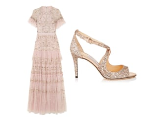 Dress, £375 by Needle and Thread from net-a-porter.com Shoes, £495, jimmychoo.com