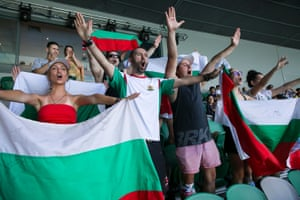 Bulgarian fans supporting Grigor Dimitrov on day five.