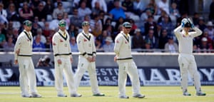 Australia players look dejected as they know its a lost cause.