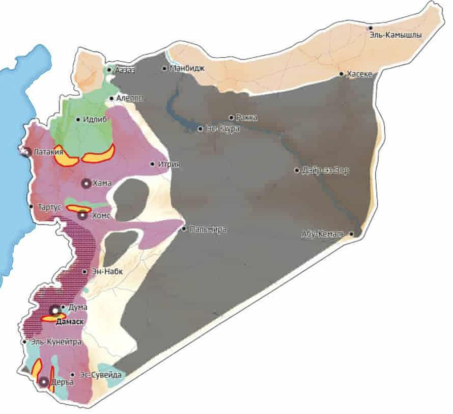 Russian media published a map of the ceasefire in Syria. Only the areas coloured yellow are covered by the agreement.