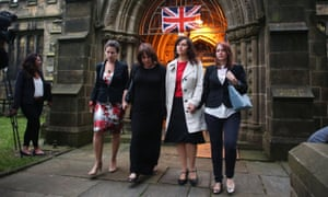 Paula Sherriff leave St Peters Church in the town of Birstall, West Yorkshire, where a vigil was held for murdered Labour MP Jo Cox.