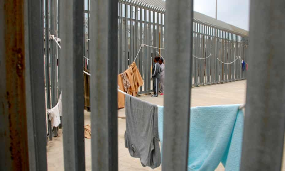 Women being held in the Ponte Galeria detention centre for migrants near Rome in 2017.