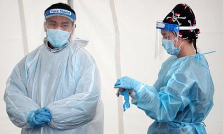 Nurses at Otara Town Centre Covid testing in Auckland.