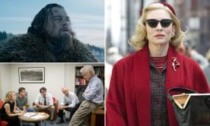 Leonardo DiCaprio in The Revenant, Cate Blanchett in Carol and the cast of Spotlight