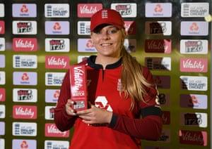 Sarah Glenn of England with her player of match award.