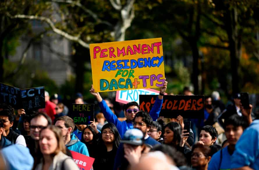 People take part in a march for Daca, starting in New York City and heading to the supreme court.