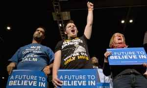 Members of the audience during a campaign rally for Bernie Sanders in Minneapolis, 29 February 2016.