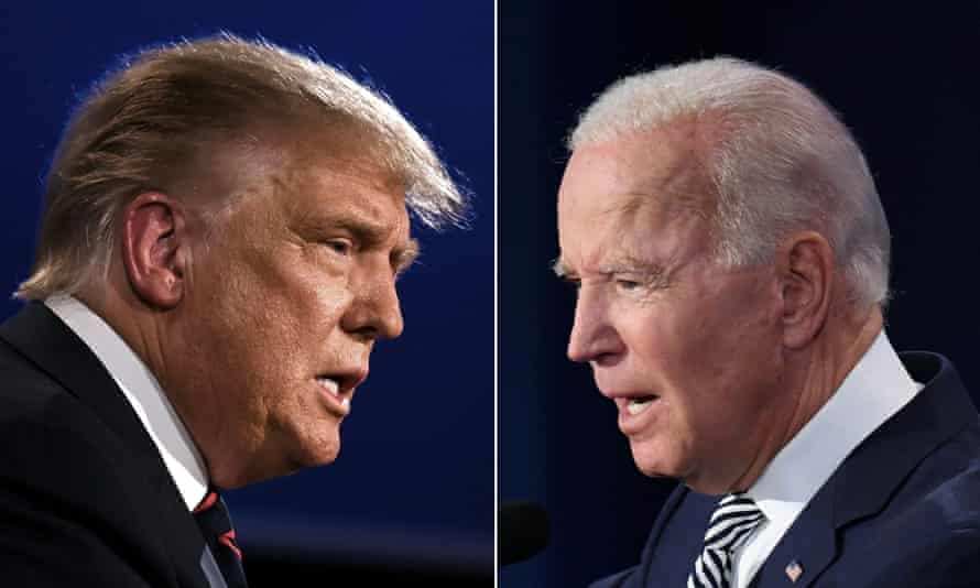 Donald Trump and Joe Biden squaring off during the first presidential debate .