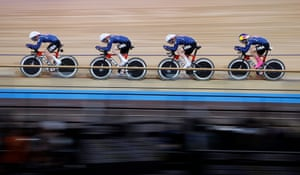 Jennifer Valente, Chloe Dygert, Emma White and Lily Williams of the United States take park in the first round of the women's team pursuit