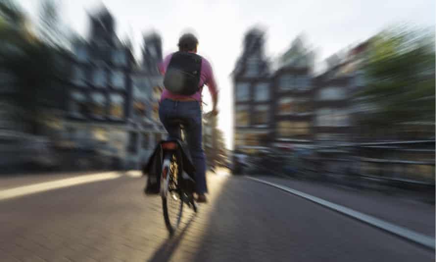 A cyclist in Amsterdam.