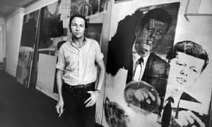 Robert Rauschenberg in front of his picture of President Kennedy