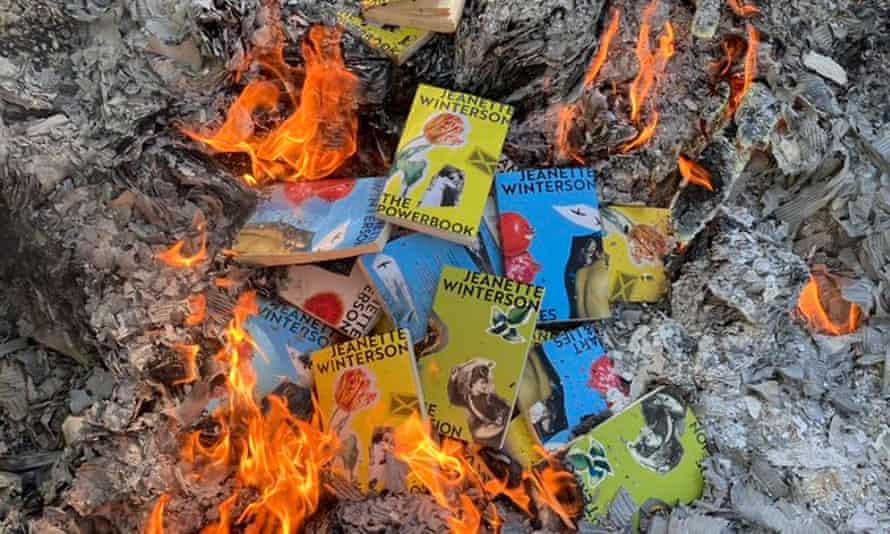 republished Jeanette Winterson novels on fire