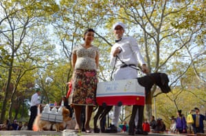 The Milkman Joke – Rachel Castro and Grayson with dogs Nike and Tokyo, who took third place