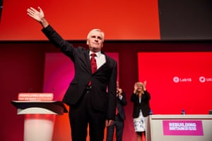 McDonnell is applauded by Corbyn and Formby