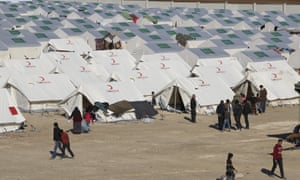Refugee camp near Bab al-Salameh border crossing with Turkey on Monday.