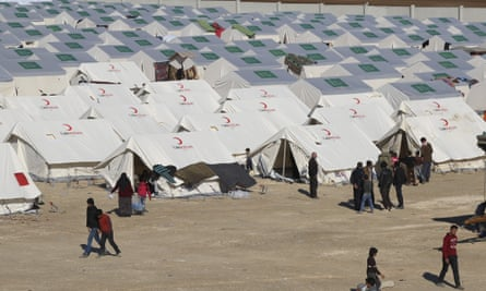 Displaced Syrians at a temporary refugee camp in northern Syria