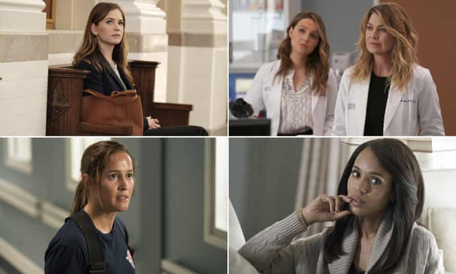 Britt Robertson in For the People, Ellen Pompeo in Grey's Anatomy, Kerry Washington in Scandal and Jaina Lee Ortiz in Station 19.