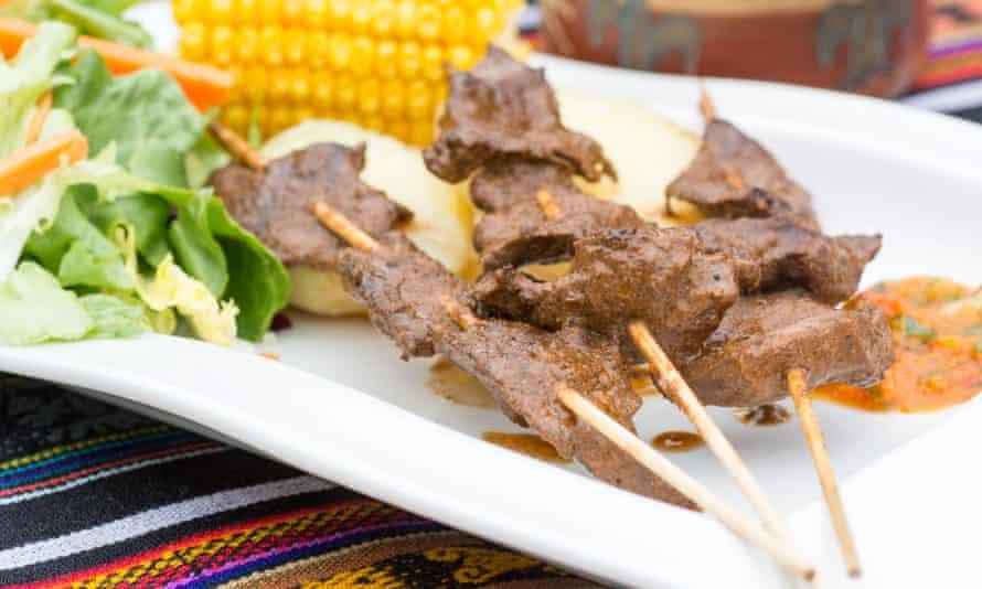 Anticucho, beef-heart kebabs.