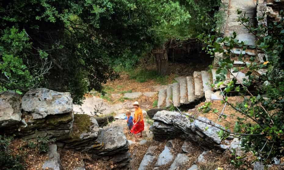 Lucas and Rachel exploring the stone steps and walkways near Episkopio on Andros