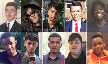 Stabbing victims; top row from left: Yousef Ghaleb Makki, Jodie Chesney, Hazrat Umar, Connor Brown and Kamali Gabbidon-Lynck; bottom row from left: Lejean Richards, Abdullah Muhammad, Sidali Mohamed, Nedim Bilgin and Jaden Moodie