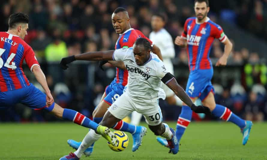 Michail Antonio attacks during a recent West Ham game against Crystal Palace.