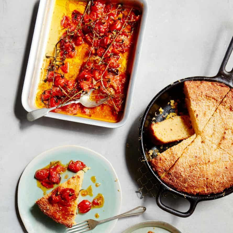 Thomasina Miers' sauteed parmesan pan-fried cornbread with roast garlicky tomatoes.