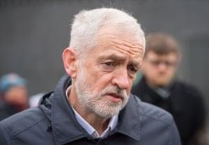 "Labour leader Jeremy Corbyn outside Kings Cross station in London last week on Labour's ""rail action day""."