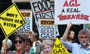 Coal seam gas demonstrators outside of the AGL annual general meeting in 2014.