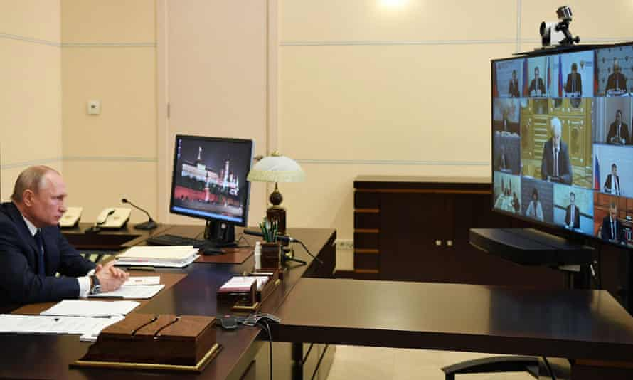 Vladimir Putin delivers a televised address to the nation on Monday.