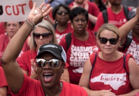 Teachers were asking for higher salaries and more school funding from the North Carolina legislature.