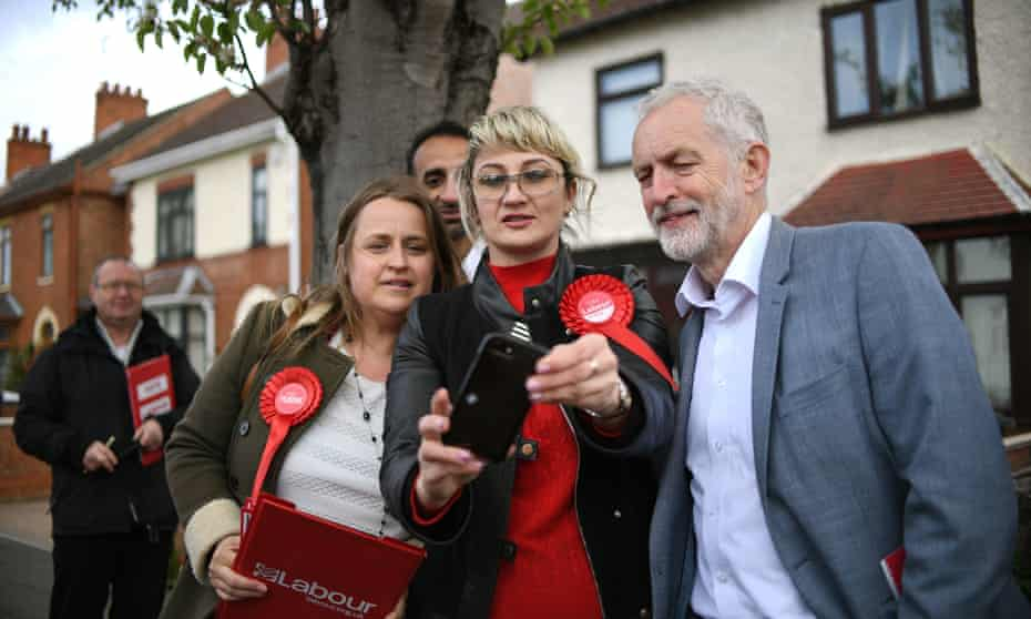 Jeremy Corbyn campaigning with Labour activists for the local elections in Peterborough on 27 April.