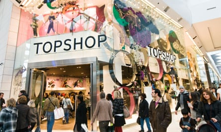 Topshop branch in a shopping mall, London.