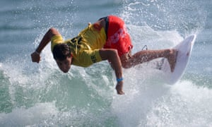 Lucca Mesinas of Peru in action during heat three