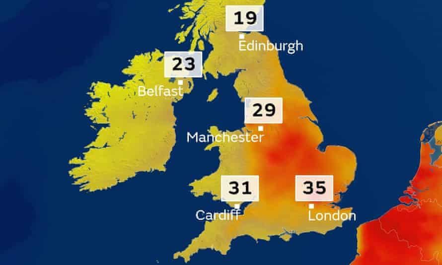 UK temperatures on Wednesday 21 June 2017 on a map