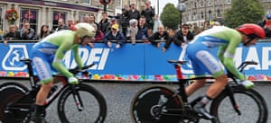 Fans in Harrogate cheer on competitors in the inaugural UCI mixed relay race