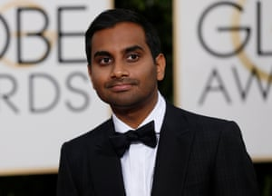 Actor Aziz Ansari arriving at the 73rd Golden Globe Awards in Beverly Hills