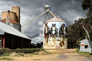 Melbourne street artist Jimmy Dvate, known for his depictions of the natural world, painted the Goorambat silos in Victoria's north. One silo is a tribute to three Clydesdale packhorses named Clem, Sam and Banjo from a family of horses dating back 100 years. Another shows a threatened barking owl, drawing attention to the native species.