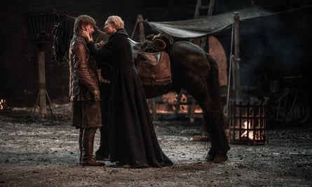 'Wailing in her nightgown' ... Brienne of Tarth (Gwendoline Christie) with Jaime Lannister (Nikolaj Coster-Waldau).