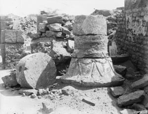 Decorated column capital, found at the Amun temple. Meroë, 1910