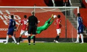 Chelsea's Edouard Mendy denies Marcus Rashford with a fine save.