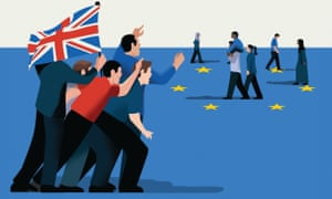 Illustration, by Nathalie Lees, of people rallying round union jack, squaring up to minorities within protection of EU flag's star circle