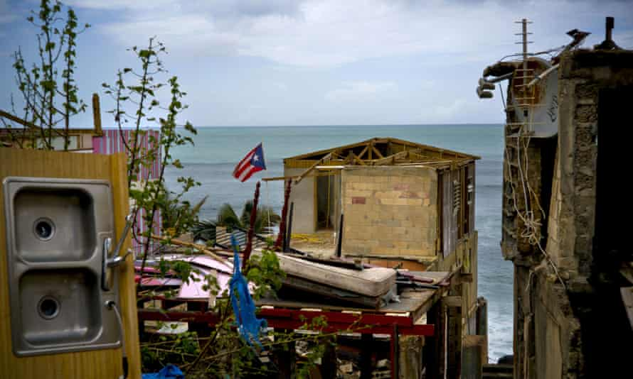 A damaged home in the aftermath of Hurricane Maria, in La Perla, San Juan, Puerto Rico.