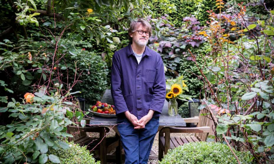 Nigel Slater photographed in his garden, August 2021.