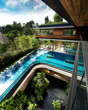 A view of the cascading waterfall and pool.