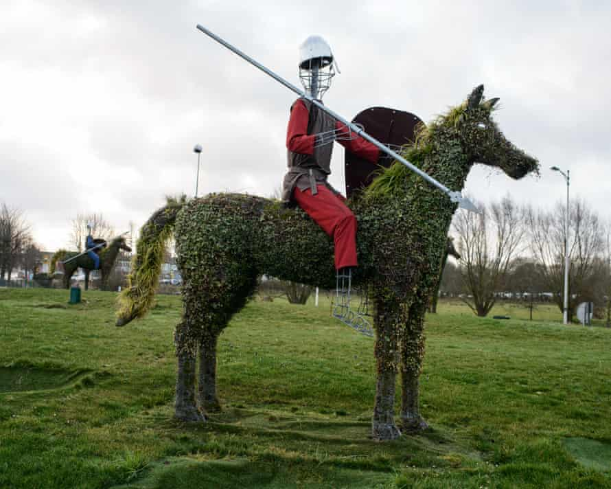 A statue on a roundabout on the outskirts of Bayeux depicts a soldier from the town's famed tapestry.