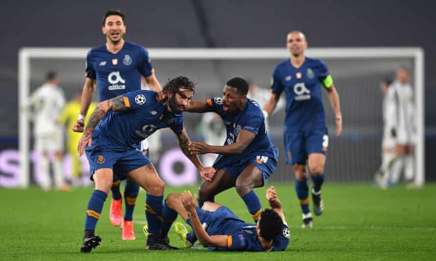 Sérgio Oliveira of Porto celebrates after his extra-time goal proved decisive against Juventus.