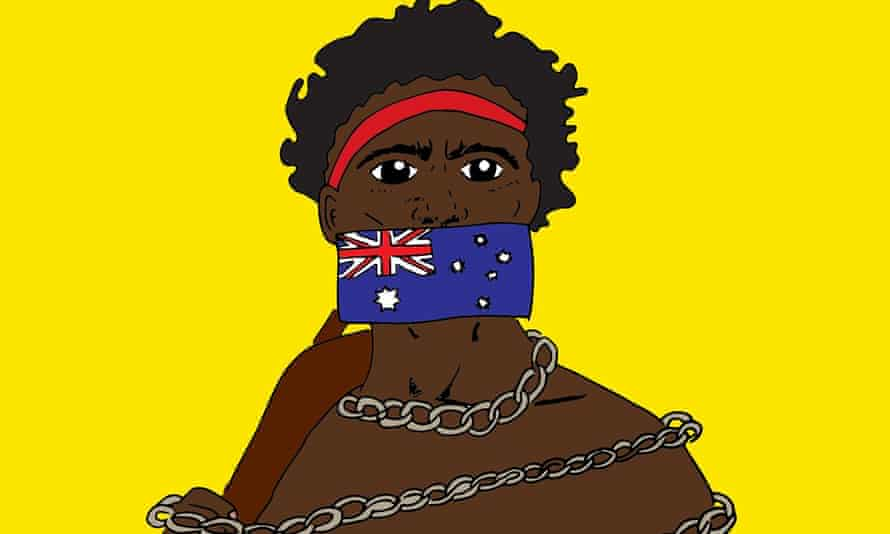 An Aboriginal man in chains with an Australian flag taping his mouth shut.