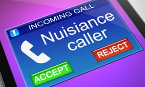 nuisance caller on a mobile phone