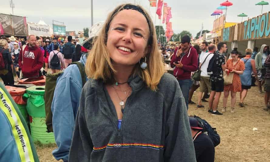 Sarah Roller wearing her giant grey fleece – again.